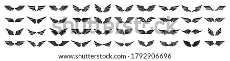 set of black wings icons wings