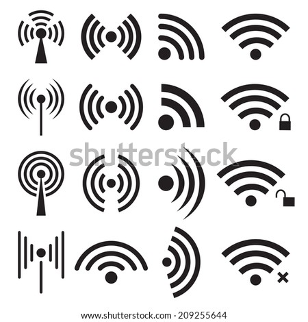 Set of black wireless and wifi icons. Vector illustration