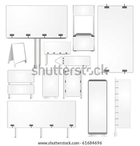 Set of blank advertising billboards and panels