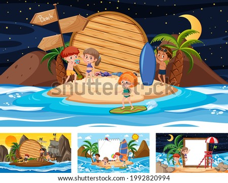 Set of blank banner in different tropical beach scenes illustration