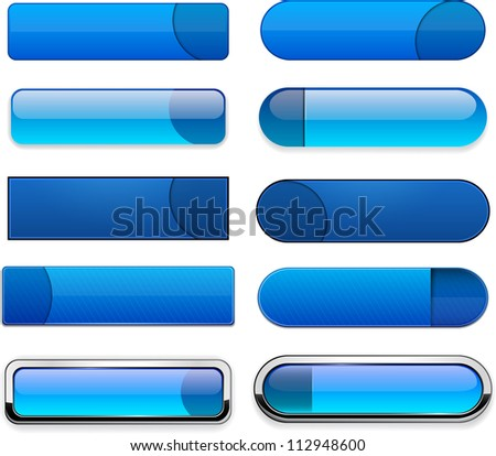 Set of blank blue buttons for website or app. Vector eps10.