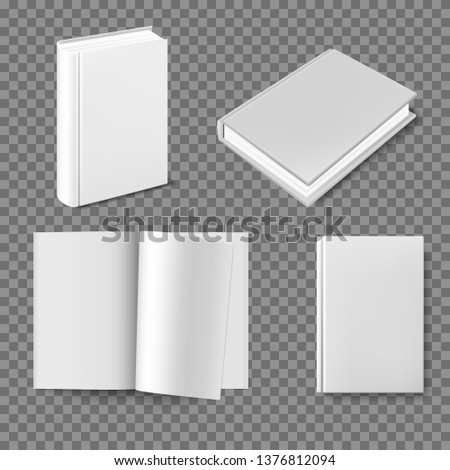 Set of blank book cover template. Closed vertical book, magazine or notebook mockup on white background. Blank Cover Of Magazine, Book, Booklet, Brochure. Blank magazine spread on white background.