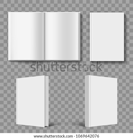 Set of blank book cover template. Isolated on transparent background. Stock vector illustration.