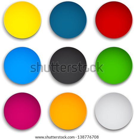 set of blank colorful round
