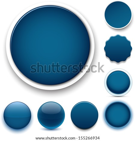 set of blank dark blue round