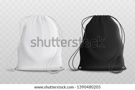Set of blank drawstring bags for sport or school cloth and shoes mockup 3d realistic vector illustration. Pouch or textile pack in black and white set of two template.
