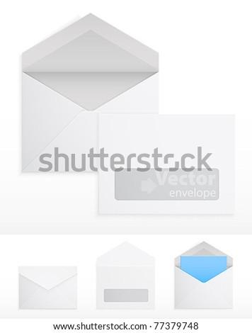 Set of blank envelops on white. Vector illustration