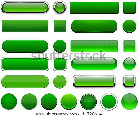 set of blank green buttons for