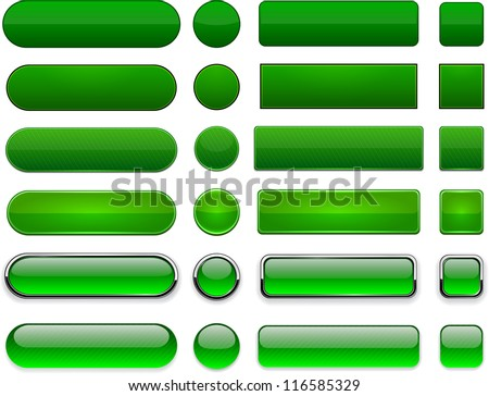 Set of blank green buttons for website or app. Vector eps10.