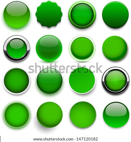 set of blank green round