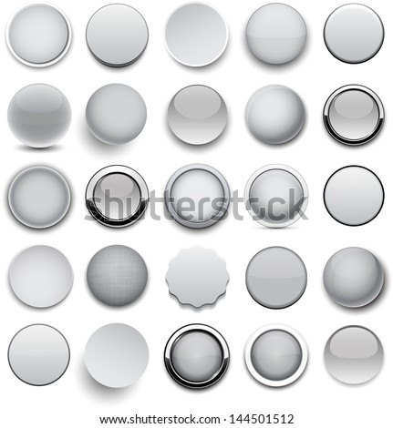 Set of blank grey round buttons for website or app. Vector eps10.
