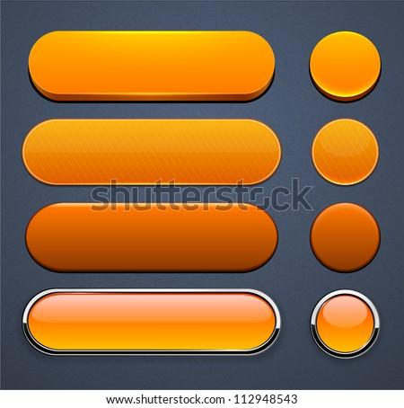 Set of blank orange buttons for website or app. Vector eps10.