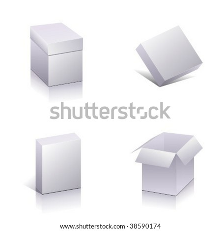 Set of  blank packing. Template open 3d boxes. Vector #38590174