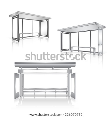 set of blank panel bus stop