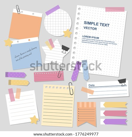 set of blank paper notes with elements for decorate planner, notes, memo, vector, illustration design. Stockfoto ©