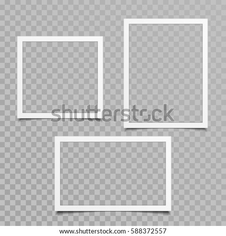 Set of blank photo frames with shadow effects isolated on transparent background. Vintage photos (frame) for your picture. Vector illustration in realistic style. EPS 10.