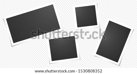 Set of blank photo polaroid frames, isolated on transparent background.