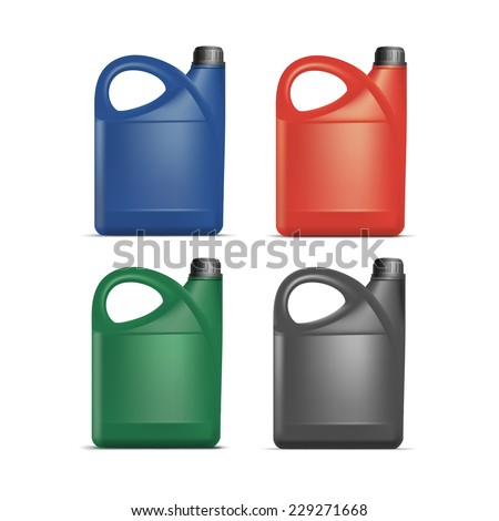 set of blank plastic jerrycan
