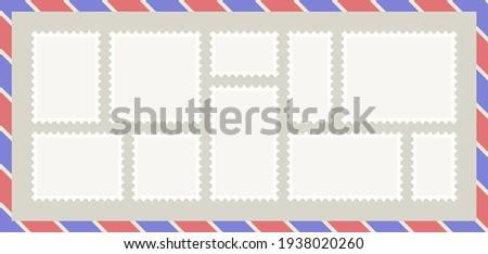 set of 10 blank postage stamps on envelope background Foto stock ©