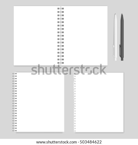 Set of blank realistic spiral notebooks mockup