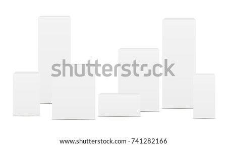 Set of blank rectangular boxes - front views. Mockup for pharmaceutical packaging design. Vector illustration