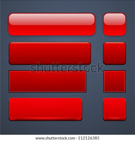 Set of blank red buttons for website or app. Vector eps10.