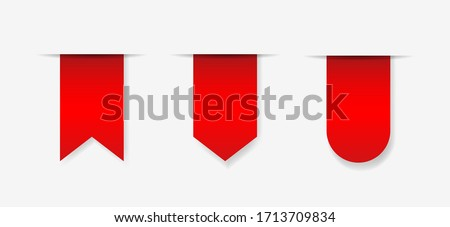 set of blank red ribbon tags. Collection of store and market special sale signs. bookmark icons out of white paper  Сток-фото ©