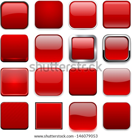 Set of blank red square buttons for website or app. Vector eps10.