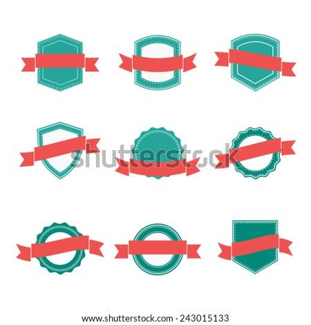 Set of blank retro badges