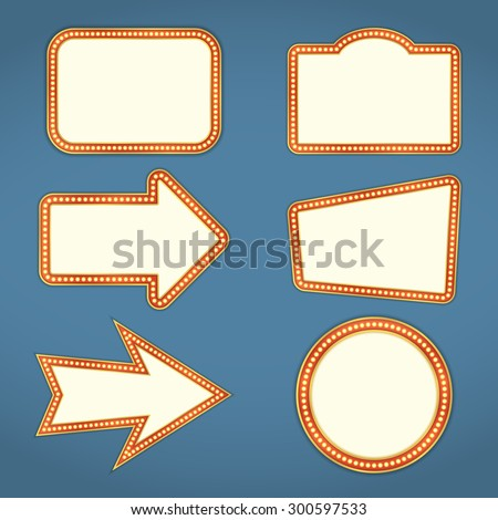 Set of blank retro banners and arrows with lights, vector eps10 illustration