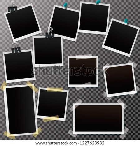 Set of blank retro polaroid frames with shadow isolated on a transparent background.  Vector illustration EPS10