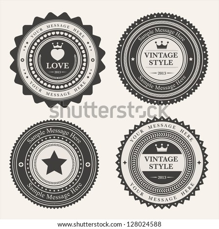 Set of blank retro vintage badges and labels.eps10