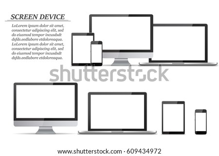 set of blank screens computer