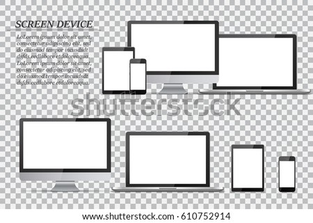 Set of blank screens. Computer monitor, laptop, tablet, smartphone