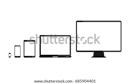 Set of blank screens. Computer monitor, laptop, tablet, smartphone, smart watch with empty white blank screen. Various modern glossy electronic devices and gadget. Vector illustration
