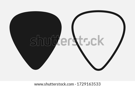 Set of blank solid and line guitar picks vector icon isolated on white background. Stok fotoğraf ©