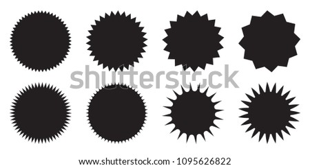 Set of blank starburst, empty sunburst badges. Design elements - best for sale sticker, price tag, quality mark. Flat vector illustration isolated on white background. #1095626822