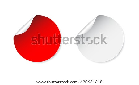 Set of blank stickers. Empty promotional labels. Vector illustration. #620681618