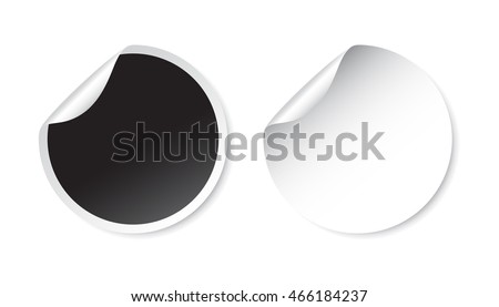 Set of blank stickers. Empty promotional labels. Vector illustration. Black and white round circle tags. #466184237