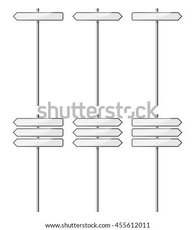 Set of blank street signs, isolated on white background. EPS10 vector illustration. #455612011