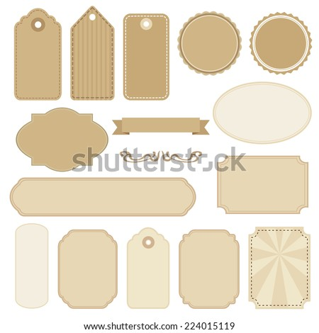 Set of blank vintage frames. Tags and labels. Isolated vector objects.