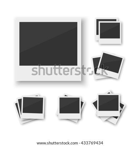 Set of blank vintage paper photo frame from instant camera with shadow with paper clip isolated on white for images. Realistic vector illustration of photo frame with space for images and photos.