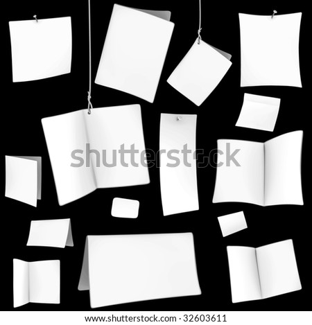 set of blank white cards 05 - stock vector