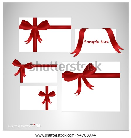 Set of blank white cards with ribbons. Vector illustration.