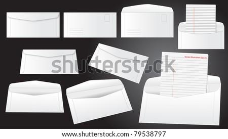 Set of blank white envelopes vector template - stock vector
