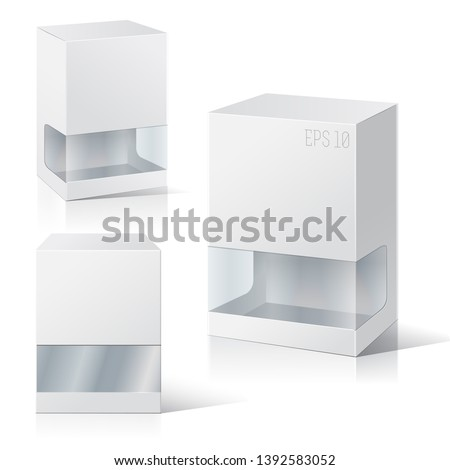Set of blank white packaging boxes  with window. Three different positions. Vector illustration