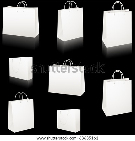 Set of blank white paper shopping bags vector isolated on black