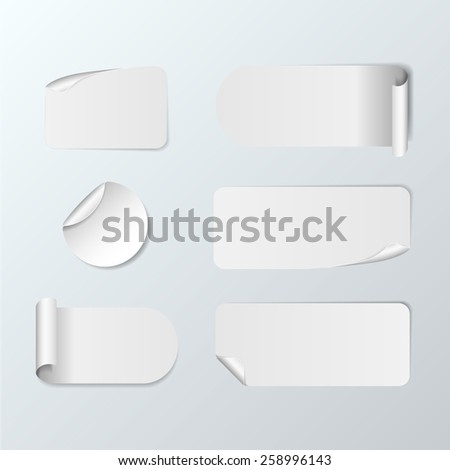 Set Of Blank white paper stickers on white background. Round, square and rectangular stickers. Vector illustration #258996143