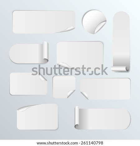 Set Of Blank white paper stickers on white background. Round, square and rectangular stickers. Vector illustration #261140798
