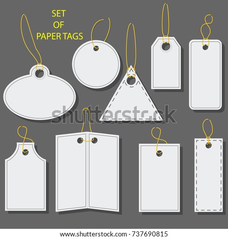 Shutterstock Set of blank white paper tags, labels, stickers with a barcode. Isolated elements of different shapes. Flat design. Vector illustration.